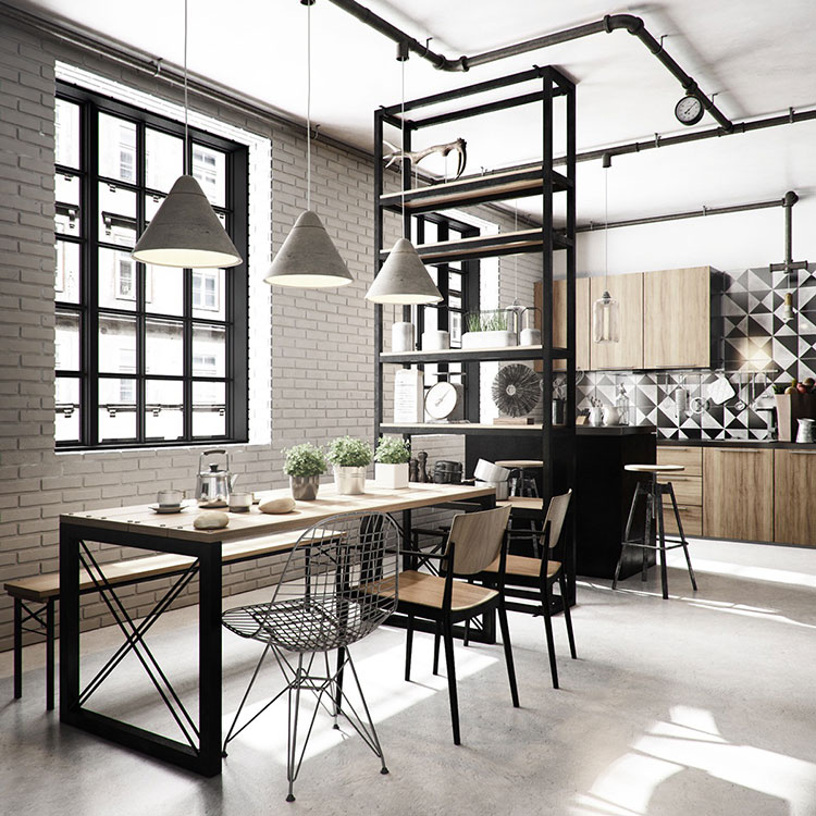 Arredamento per sala da pranzo in stile industriale n.16
