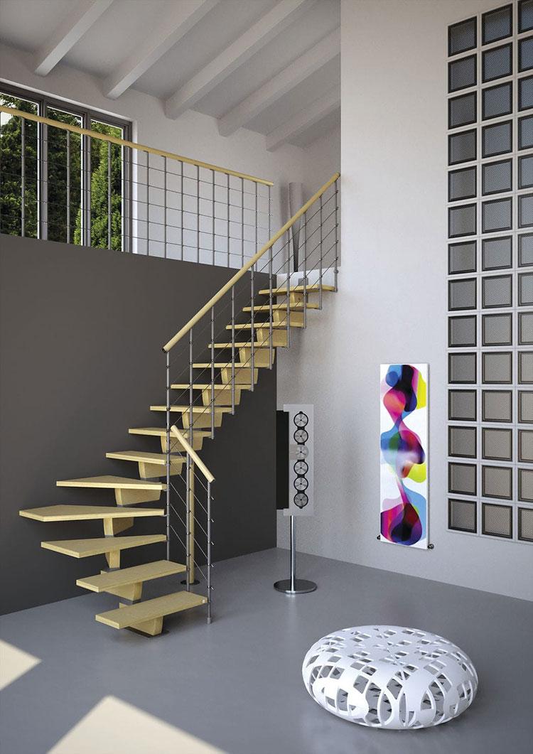 Modello di scala in legno per interni dal design moderno n.01
