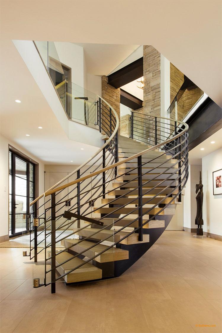 Modello di scala in legno per interni dal design moderno n.04