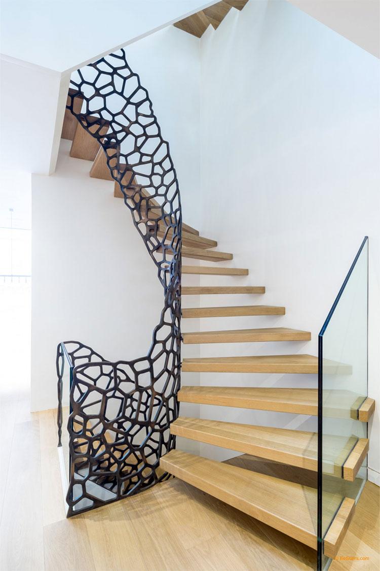Modello di scala in legno per interni dal design moderno n.05