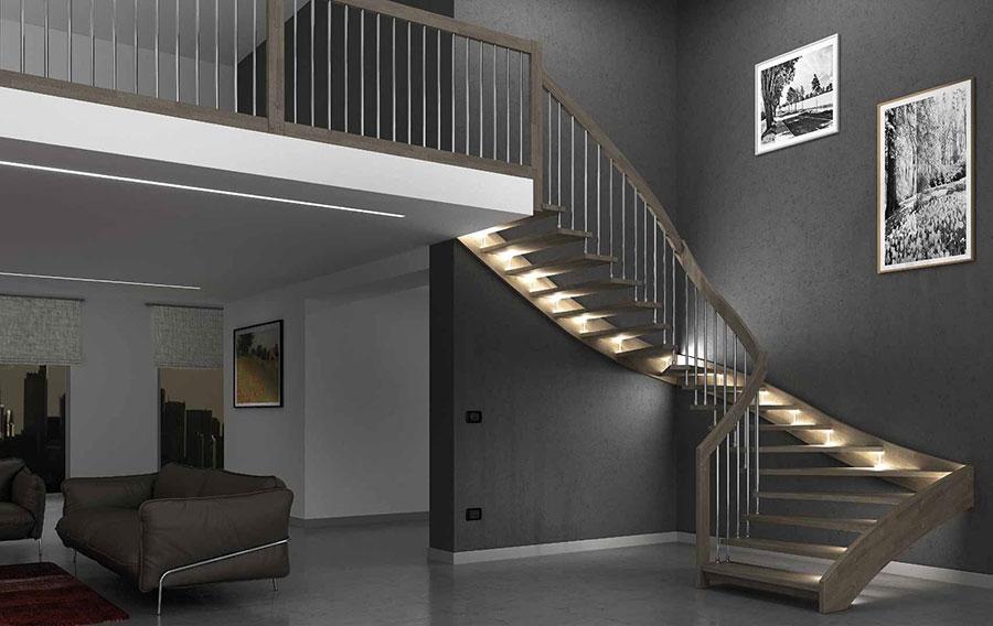 Modello di scala in legno per interni dal design moderno n.07