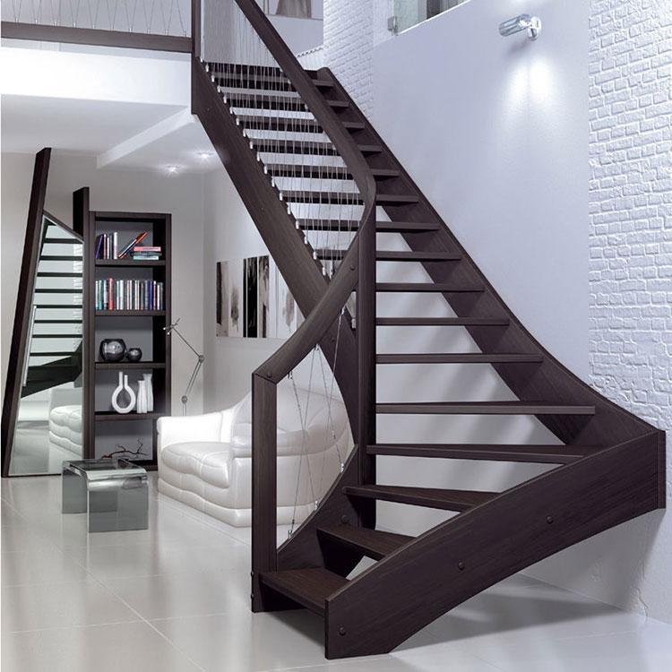 Modello di scala in legno per interni dal design moderno n.08