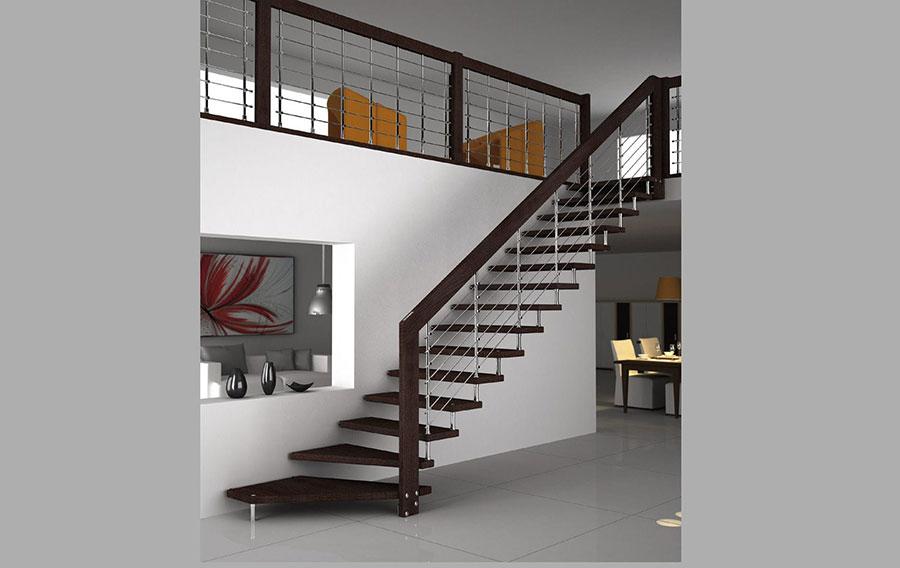 Modello di scala in legno per interni dal design moderno n.09