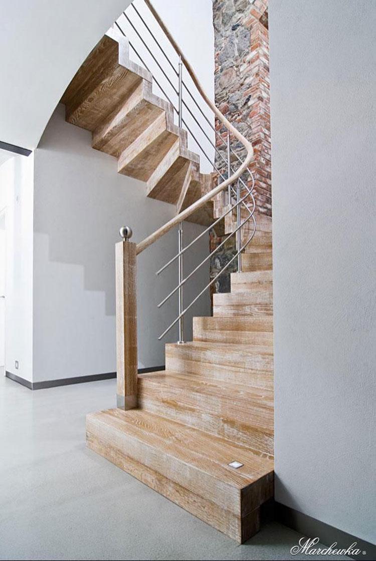 Modello di scala in legno per interni dal design moderno n.12