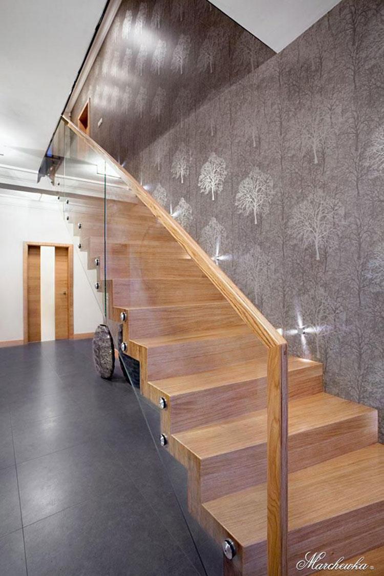 Modello di scala in legno per interni dal design moderno n.13