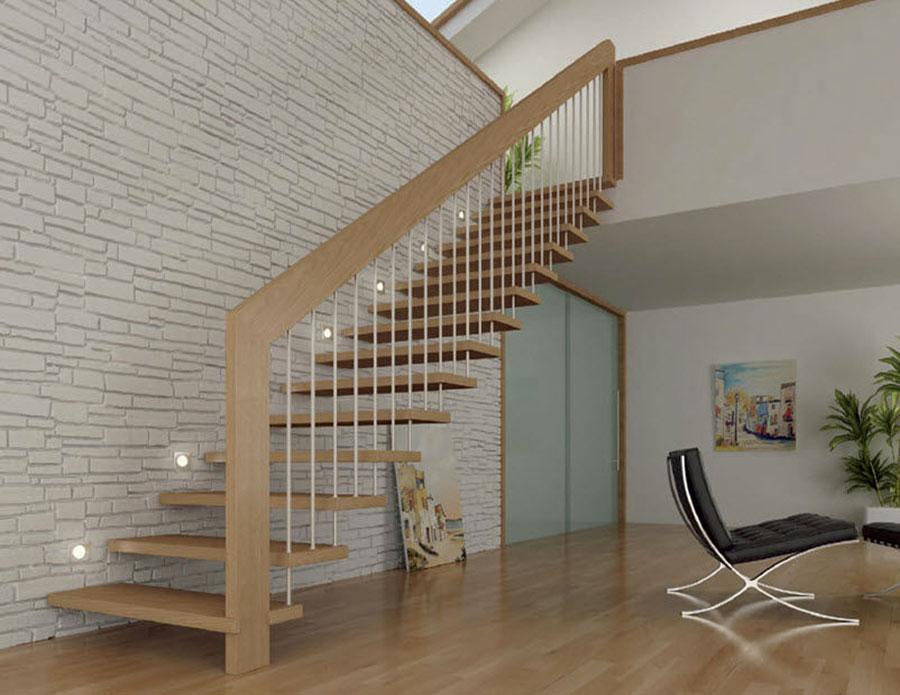 Modello di scala in legno per interni dal design moderno n.14