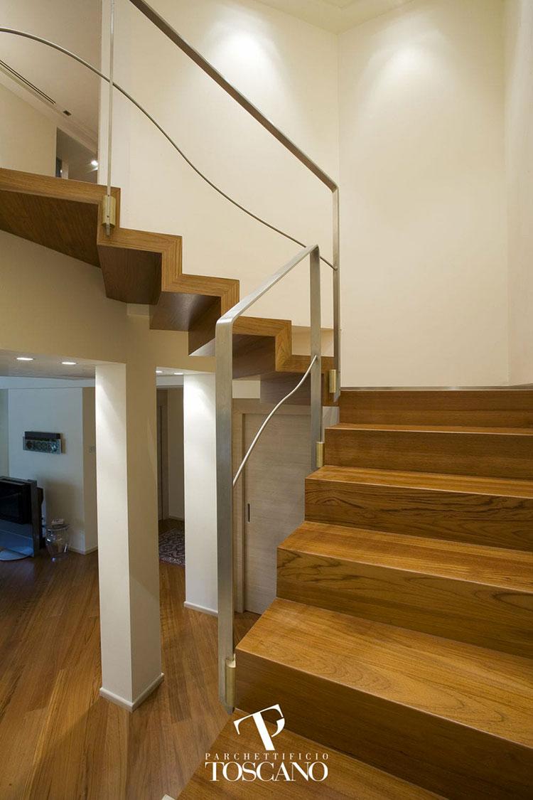 Modello di scala in legno per interni dal design moderno n.20