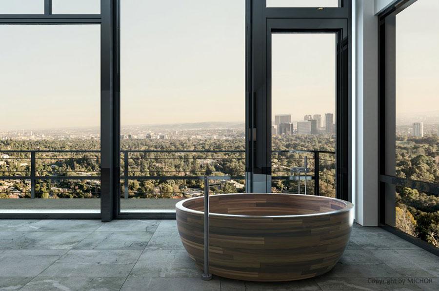 Vasca da bagno in legno da appoggio rotonda n.01