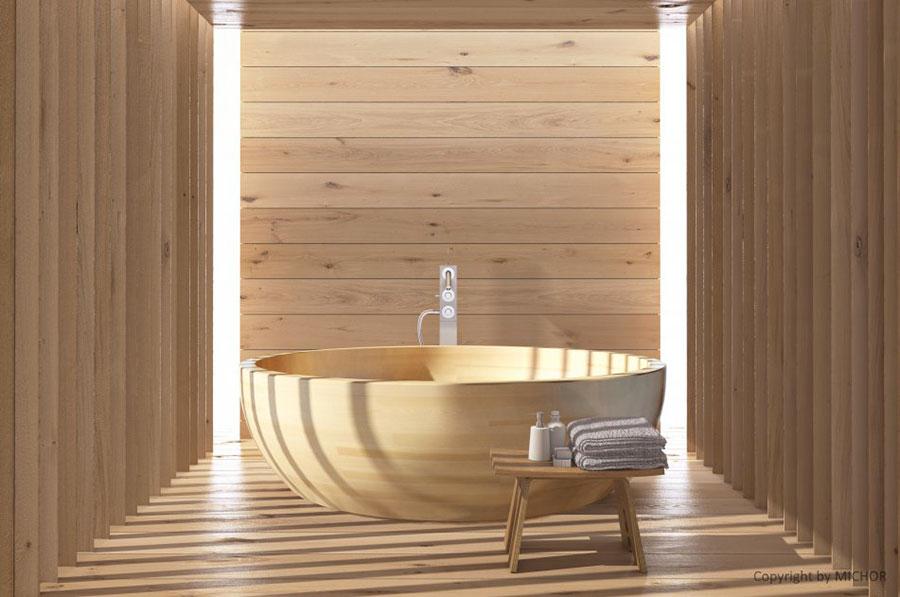 Vasca da bagno in legno da appoggio rotonda n.02