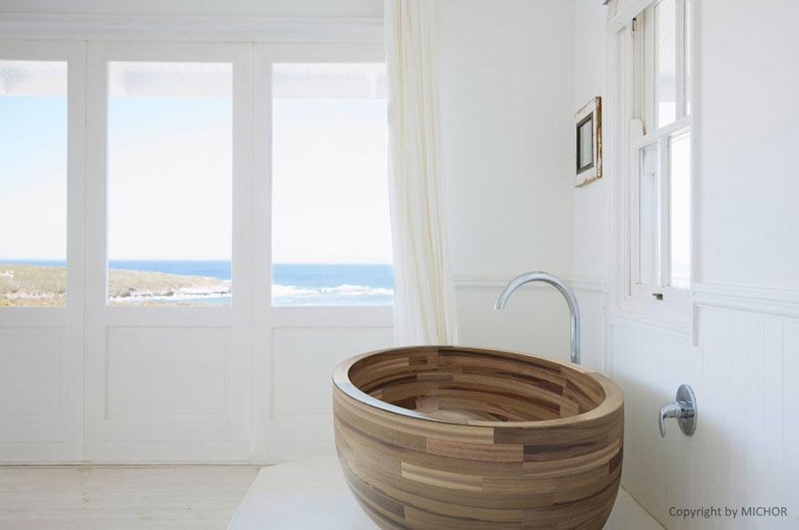 Vasca da bagno in legno da appoggio ovale n.02