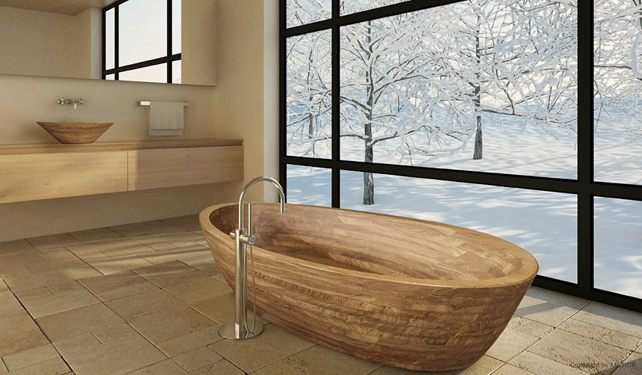 Mobiletto del bagno in legno con design classico in mobiletto del
