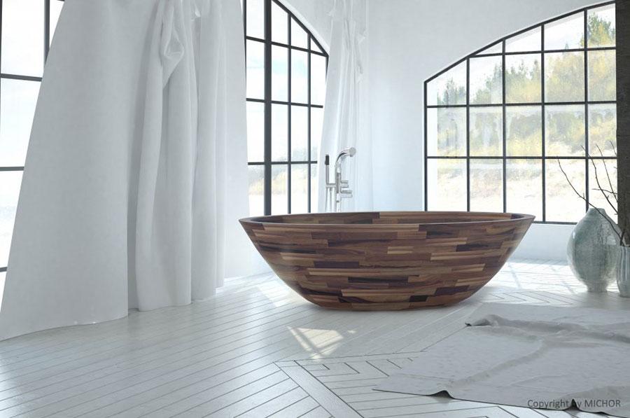 Vasca da bagno in legno da appoggio ovale n.04
