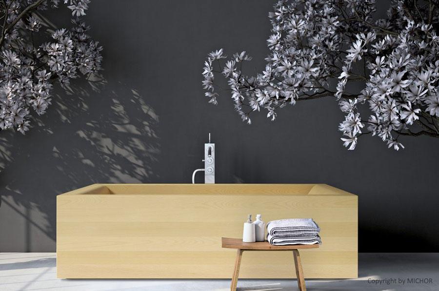 Vasca da bagno in legno da appoggio rettangolare n.01