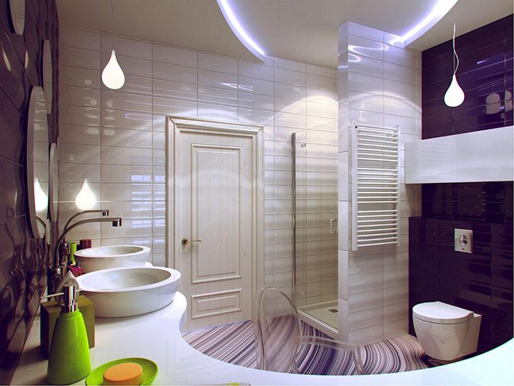 Idee per arredare un bagno viola dal design moderno n.02