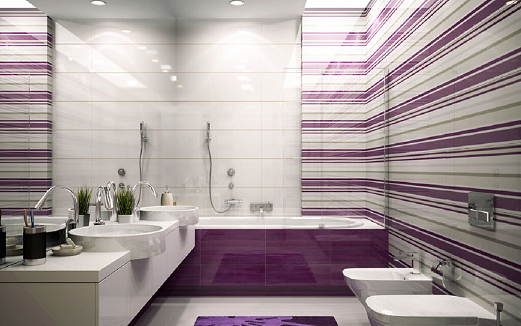 Idee per arredare un bagno viola dal design moderno n.07