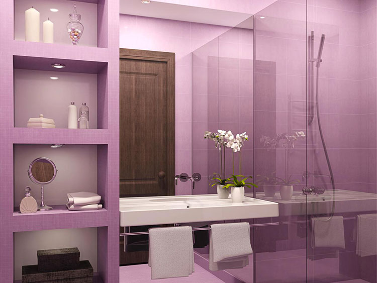 Idee per arredare un bagno viola dal design moderno n.08