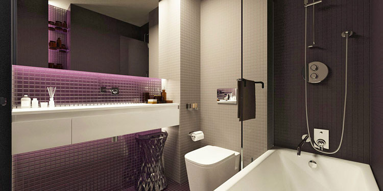 Bagno viola dal design moderno ecco 20 idee per un for 7x8 bathroom ideas