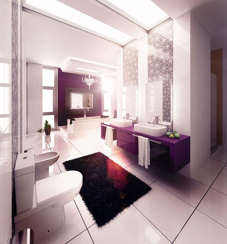 Bagno viola dal design moderno ecco 20 idee per un arredamento chic - Piastrelle viola bagno ...