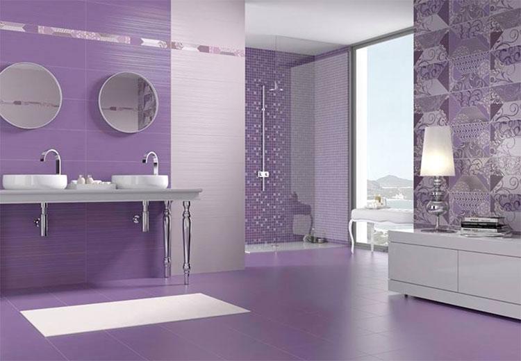 Idee per arredare un bagno viola dal design moderno n.13