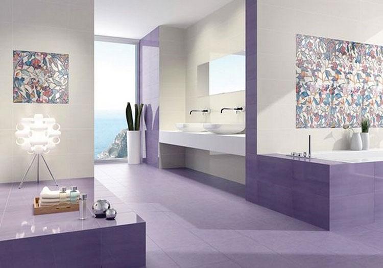 Idee per arredare un bagno viola dal design moderno n.14