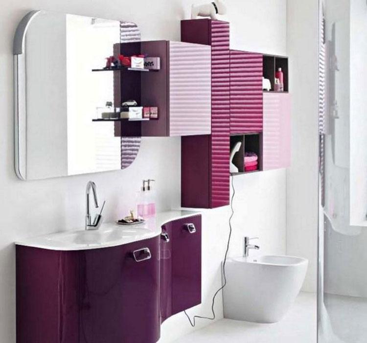 Idee per arredare un bagno viola dal design moderno n.15