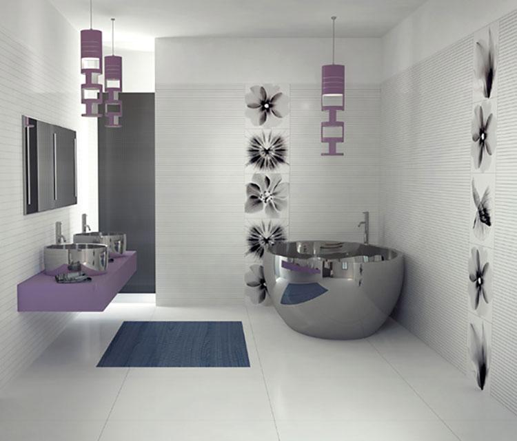 Idee per arredare un bagno viola dal design moderno n.17