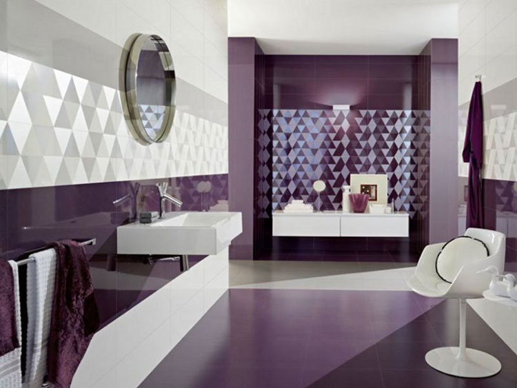 Idee per arredare un bagno viola dal design moderno n.18