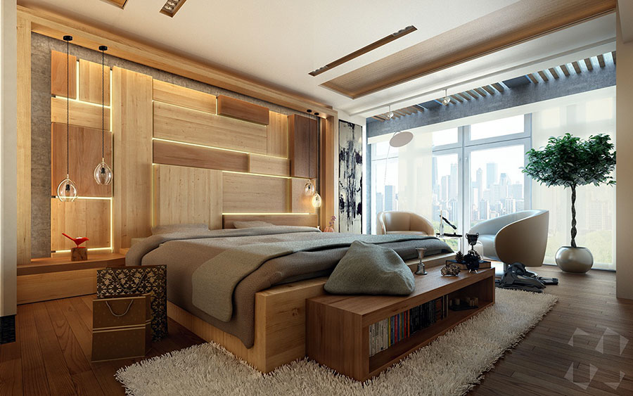 20 idee di arredo per camere da letto in legno dal design moderno. Black Bedroom Furniture Sets. Home Design Ideas