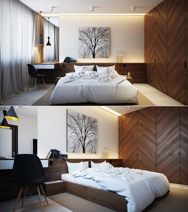20 idee di arredo per camere da letto in legno dal design - Letto moderno legno ...