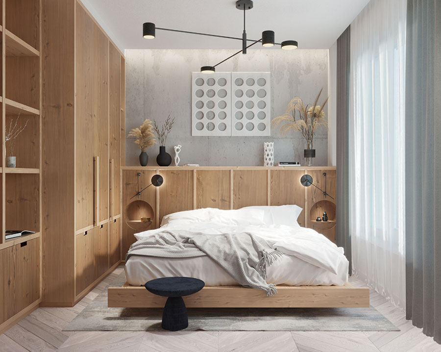Idee per arredare una camera da letto in legno rustica n.01