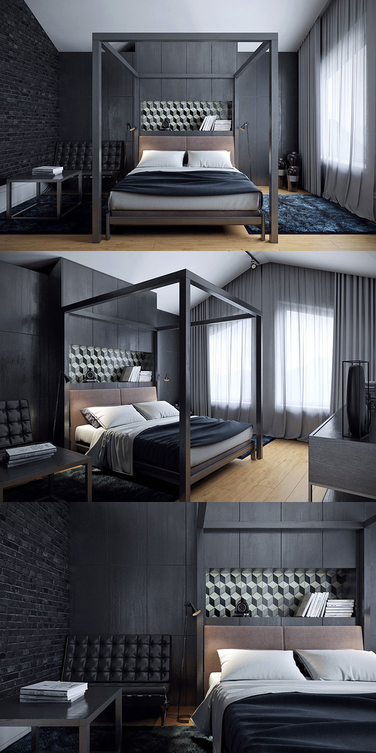 Camera da letto nera 20 idee per arredi di design in for Camera letto design
