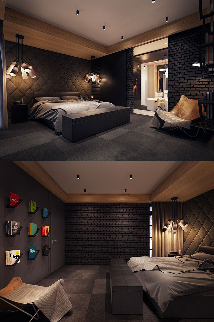 Camera da letto nera in stile dark n.02