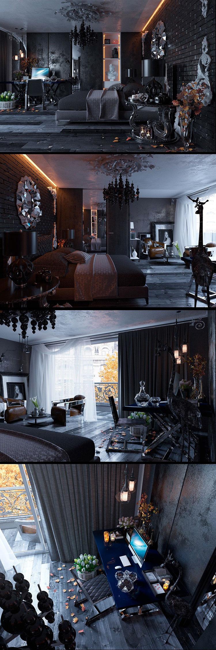 Camera da letto nera in stile dark n.05