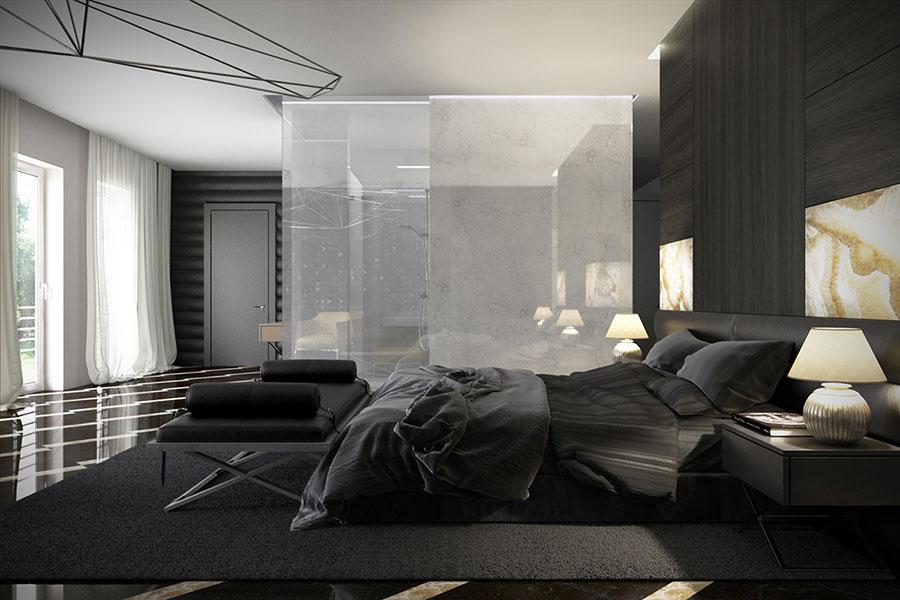 Camera da letto nera in stile dark n.08
