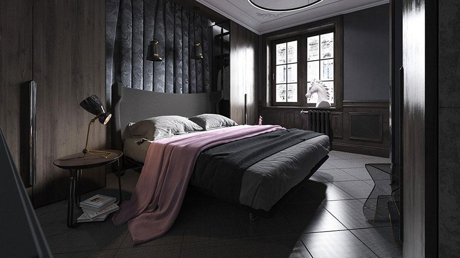 Camera da letto nera in stile dark n.10