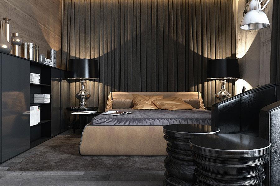 Camera da letto nera in stile dark n.13
