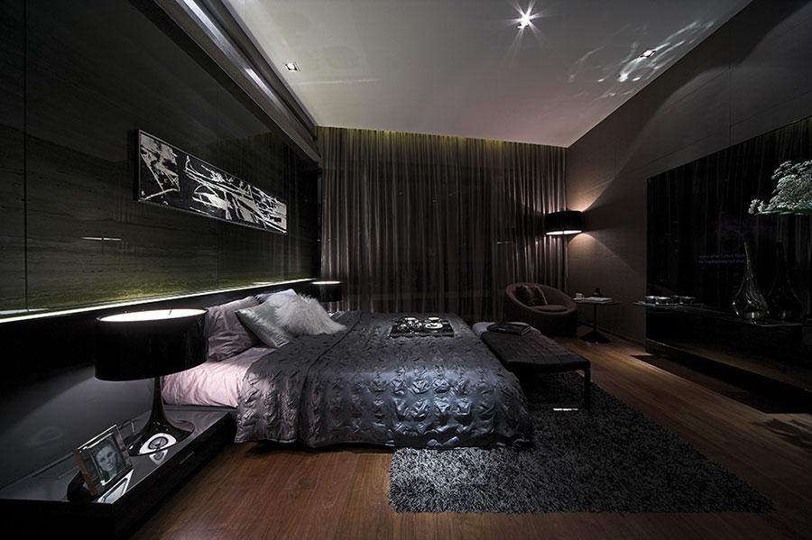 Camera da letto nera in stile dark n.14