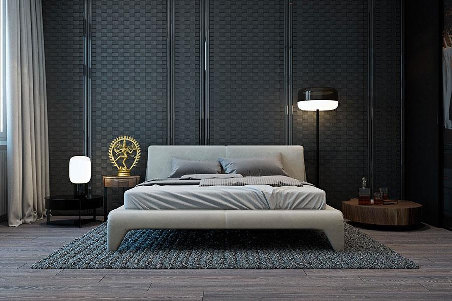 Camera da letto nera in stile dark n.15