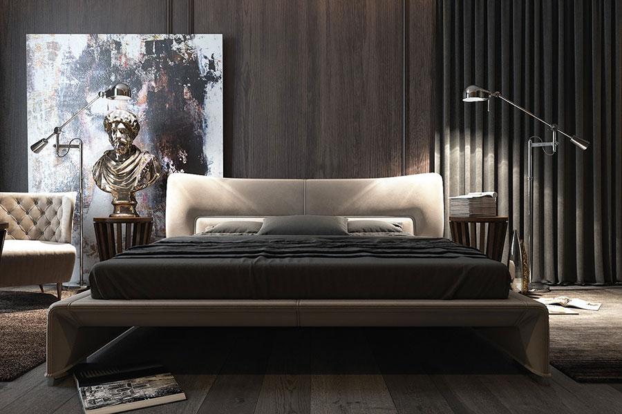 Camera da letto nera in stile dark n.18
