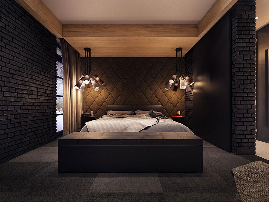 Camera da letto nera in stile dark n.20