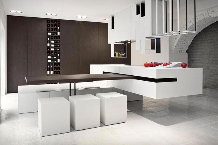 Cucina con tavolo integrato 25 modelli delle migliori marche - Dimensioni minime cucina bar ...