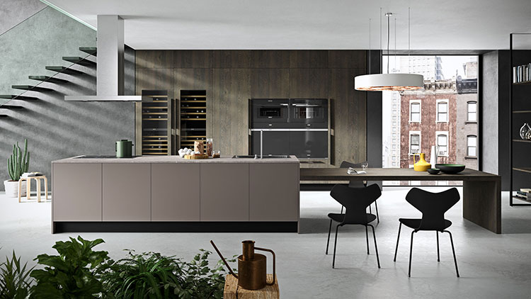 Modello di cucina con tavolo integrato n.02