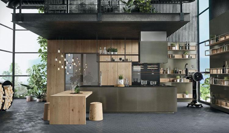 Modello di cucina con tavolo integrato n.06