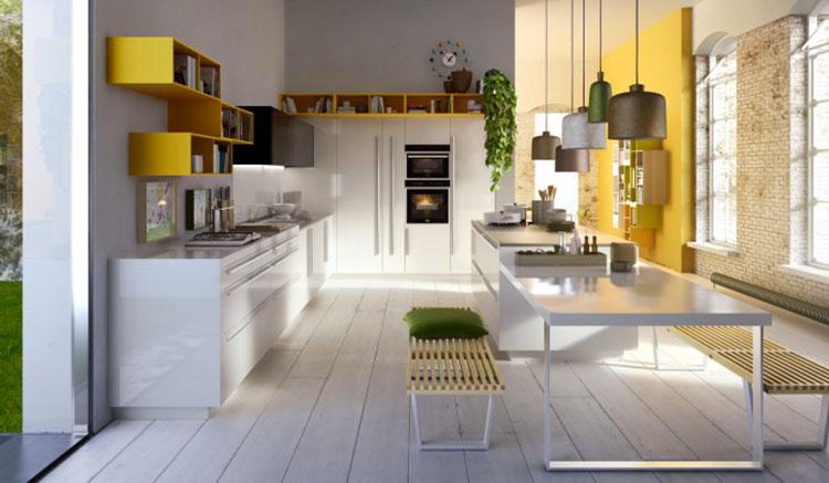 Modello di cucina con tavolo integrato n.07