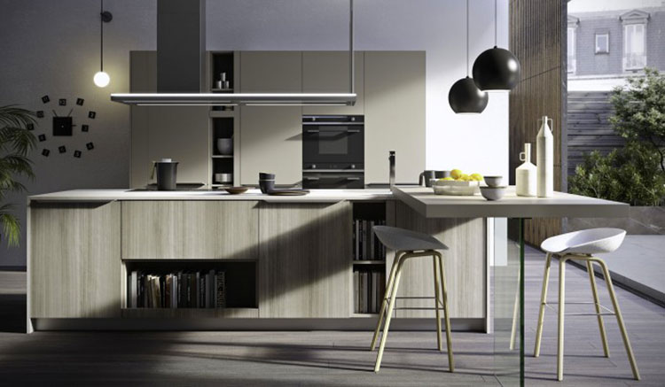 Modello di cucina con tavolo integrato n.08
