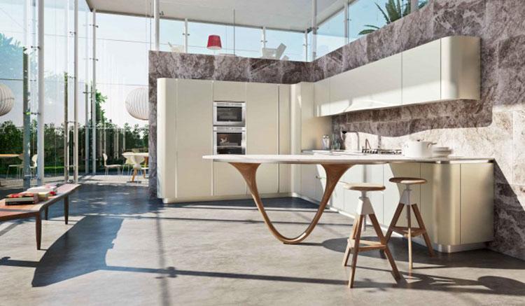 Modello di cucina con tavolo integrato n.09