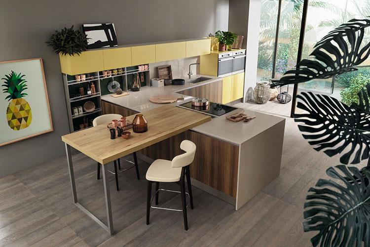 Modello di cucina con tavolo integrato n.21