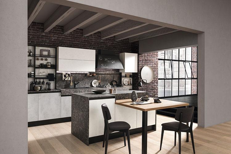 Modello di cucina con tavolo integrato n.22
