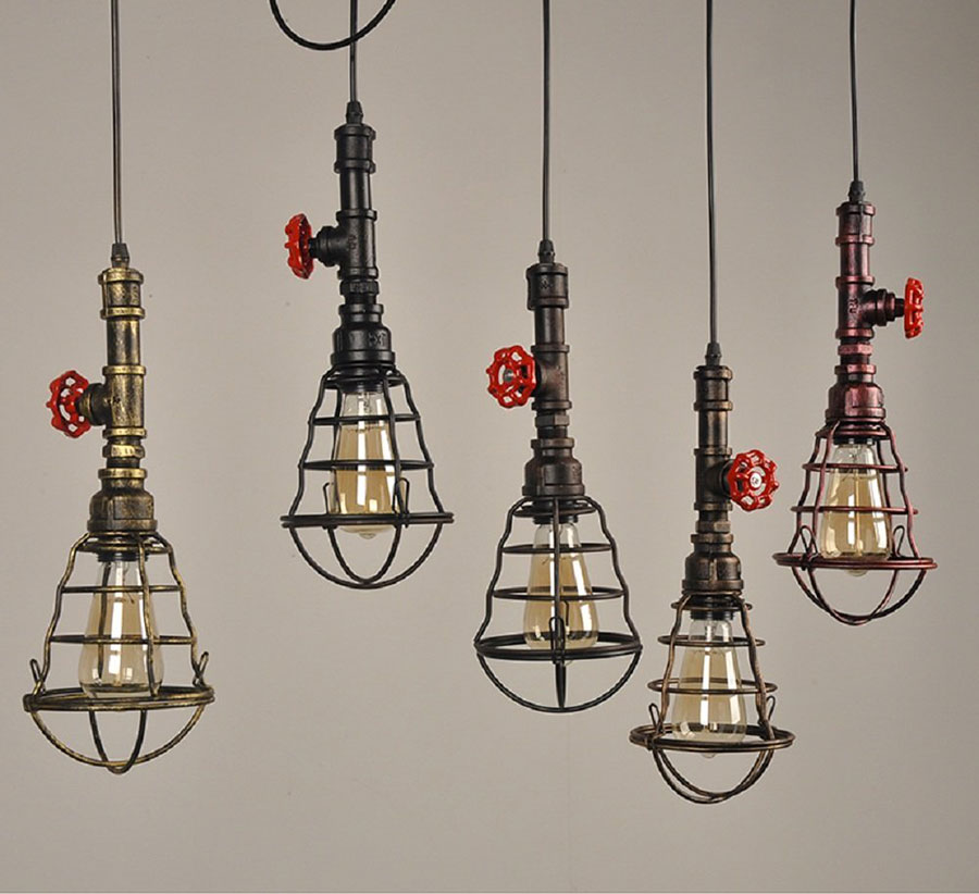 Modello di lampadario a sospensione in stile industriale n.30