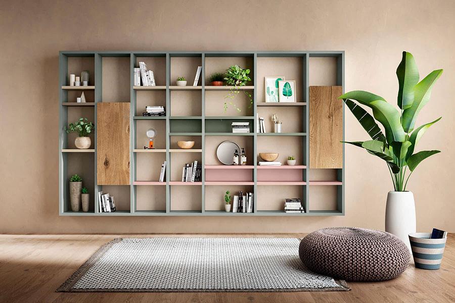 Libreria a parete per soggiorno Lago 08